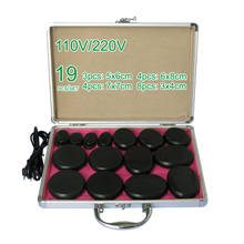 NEW wholesale & retail electrical heating 110/200V SPA hot energy stone 19pcs/set with heat box (model 3+4+4+8) massage stone box massageador beauty stone new wholesale electrical heating 220v spa hot energy stone 22pcs set with heat box