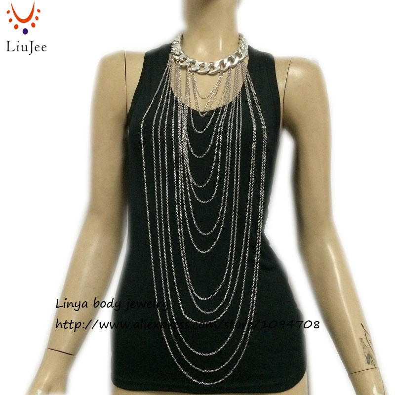 simple chain jewelry , Chain Necklace ,Body Harness Chainmail BC-144 Free Shipping