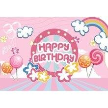 Laeacco Happy Birthday Balloons Rainbow Lollipops Stripe Baby Cartoon Scene Photo Backgrounds Photography Backdrops Studio