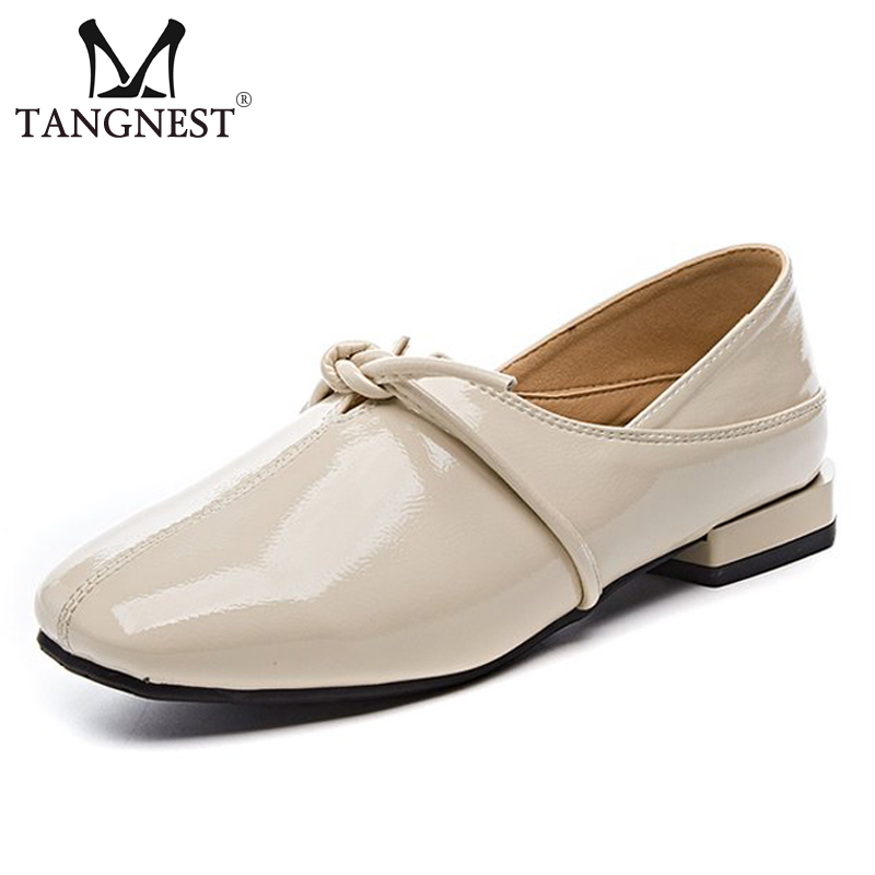 Tangnest New Spring Patent Leather Oxfords Women Low Heels Platform Pumps Lace Up Slip-On Solid Square Toe Ladies Shoes XWD7374