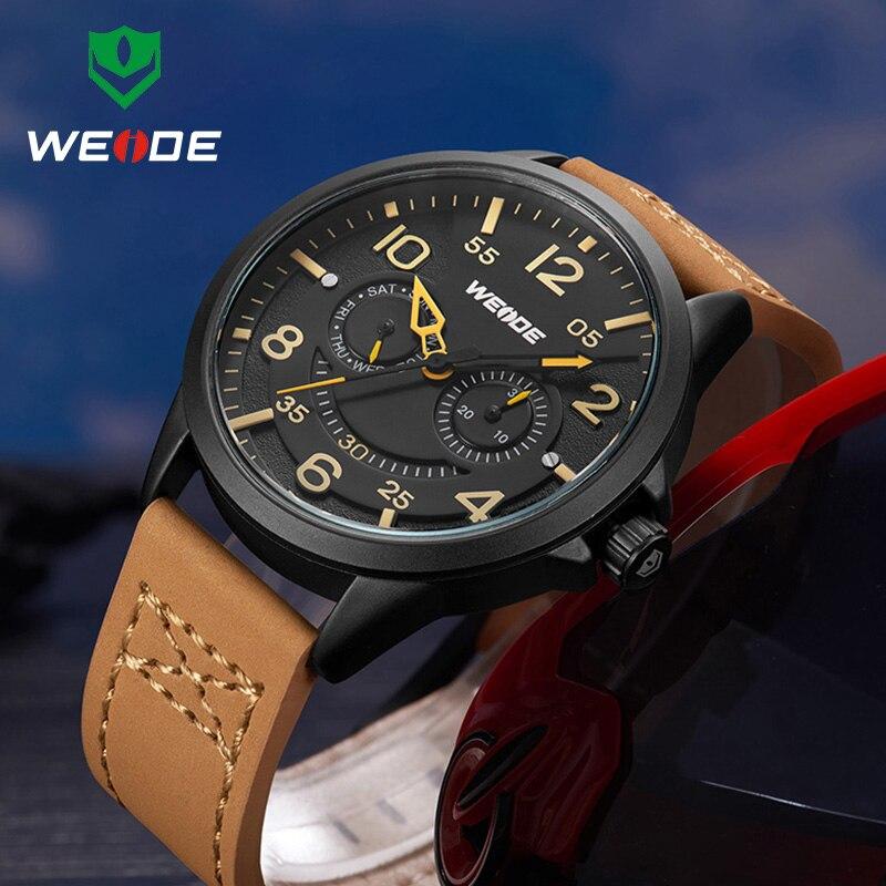 Original Luxury Brand WEIDE Army Military Quartz Watches Men Hour Week Display Clock Sports Leather Wristwatch relogio masculino все цены