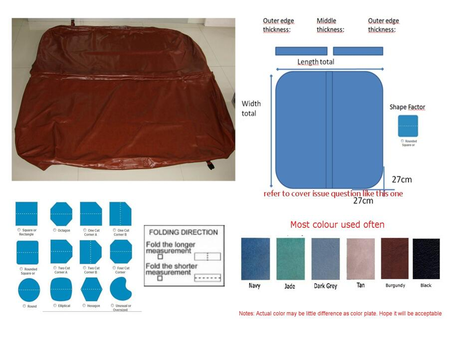 hot tub cover vinyl leather 196cm x 196cm cover skin only for replacement,other size available 2200mmx1900mm hot tub spa cover leather skin can do any other size
