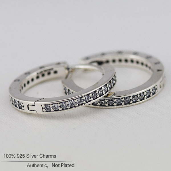Authentic 925 Silver Hoop Earrings with Clear Cubic Zirconia Stone Sterling-Silver-Jewelry Earrings for Women Fashion Jewelry