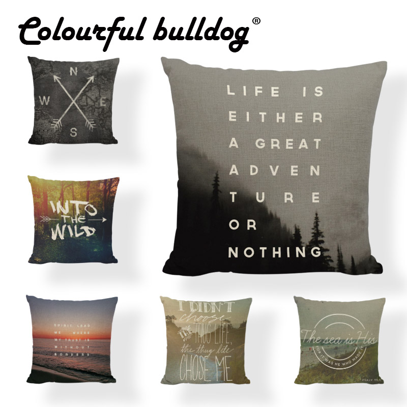 Sublimation Material Arrow Pillow Into The Wild Cushion Case Boho Cute Office 43*43cm Square Direction Home Improvement Decorate
