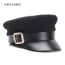 2018 nuevas señoras negro lana gorra militar moda Flat Top Hat mujer  hombres Otoño Invierno engrosamiento caliente PU cuero hues. 2a040a42aa23