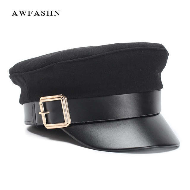 2018 New Ladies Black Wool Military Cap Fashion Flat Top Hat Woman Men  Autumn Winter Warm Thickening PU Leather Bone Newsboy Cap 2d8de29d3bef
