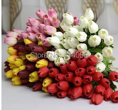 12 Stücke / Los, echte Note PU-Tulpe der künstlichen Blume - Partyartikel und Dekoration - Foto 4