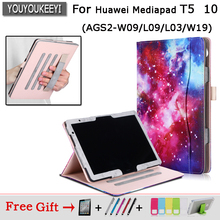 Case for Huawei Mediapad T5 10 10.1 PU Leather Stand Folio Hand Holder cover for funda Huawei Honor Pad 5 AGS2-W09/L09/L03/W19 case for funda huawei mediapad m5 lite 10 bah2 w19 l09 w09 cover for huawei t5 10 ags2 w09 l09 l03 w19 tablet case honor pad 5
