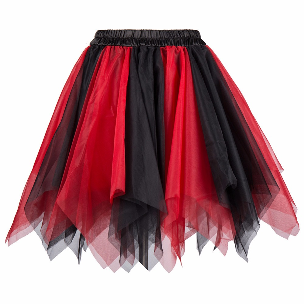 Red/Black Multilayer Tulle Fluffy Lolita Pettiskirt Tutu Skirt Short Petticoat Underskirt Women Hot Sexy Skirts Womens Plus Size