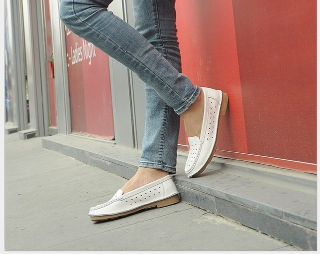 2015 women genuine leather loafers cut out women flats breathable outdoor shoes round toe flexible driving shoes 616-6