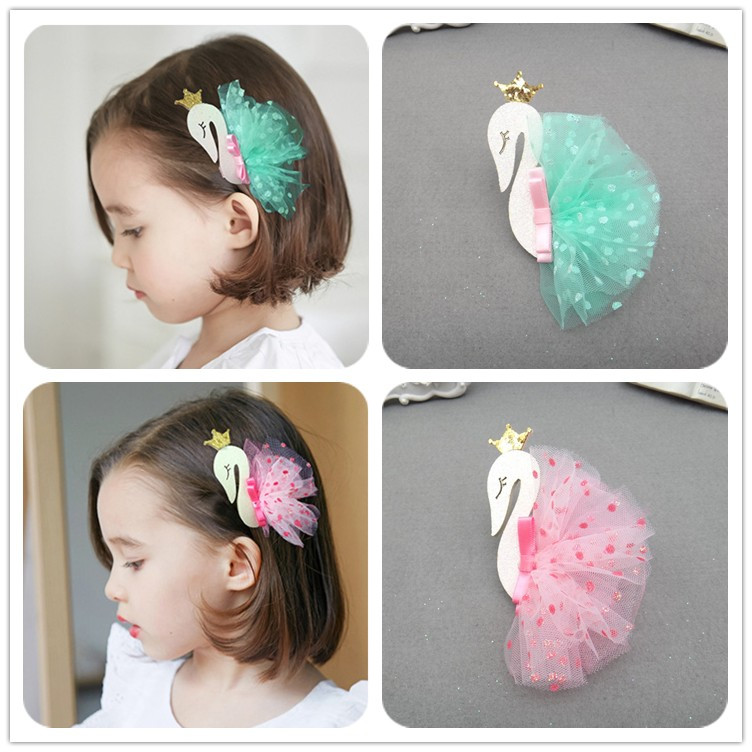 1 PCS New Crown Swan Yarn Skirt Hairpins Children Headwear Baby Hair Clips Headdress BB clips Girls Hair Accessories m mism new arrival girls yarn hair accessories pearls crown shaped fabric hairpins bb christmas dancing party princess hair clip