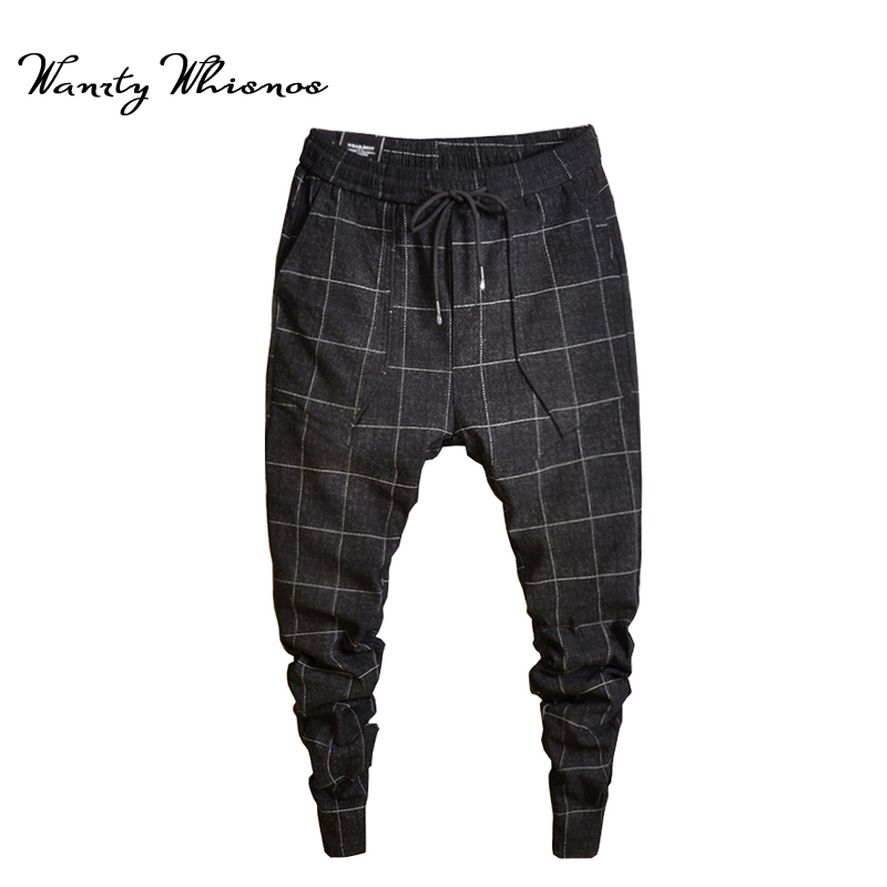 2018 New Style Fashin Plaid Pants Men's Black Trousers Jogger Men's Harem Pants Pants Casual Slim Men's Sweatpants Big Size