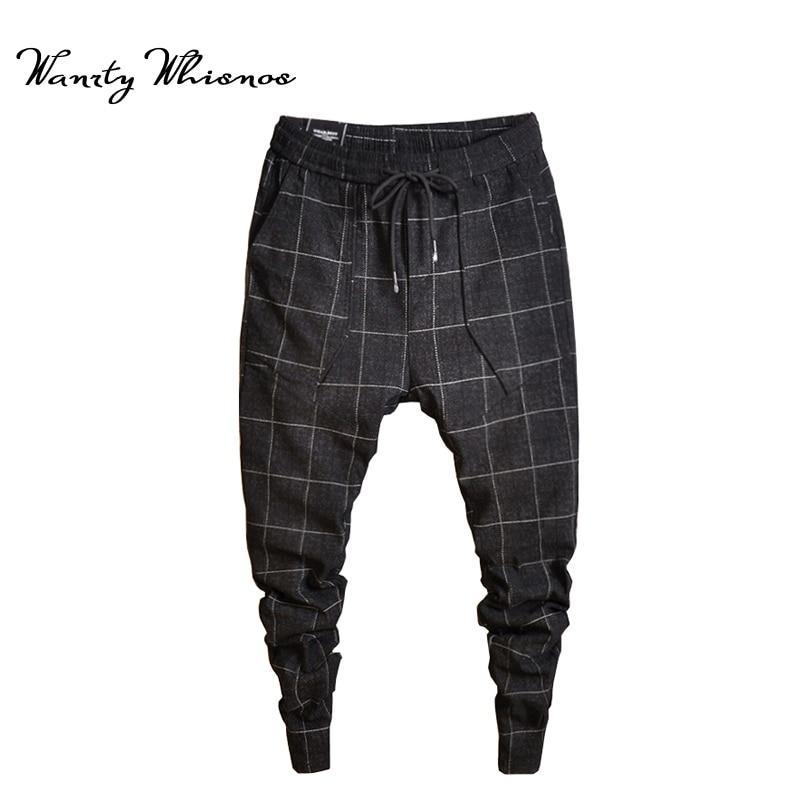 2018 New Style Fashin Plaid Pants Men's Black Trousers Jogger Men's Harem Pants Pants Casual Slim Men's Sweatpants Big Size