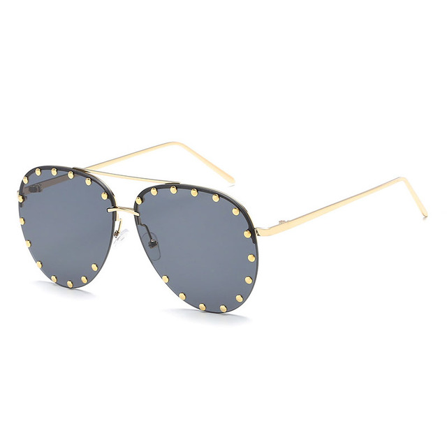 d0f699aee1c JURUI Metallic HD sunglasses male and female rivets fashion universal  sunglasses J66183 Sun Glasses Polarized UV400