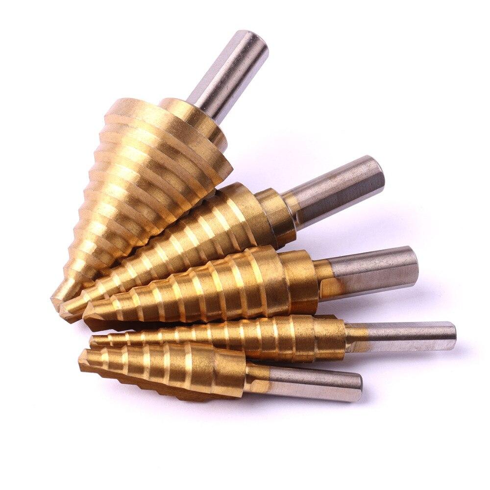 5pcs HSS Titanium Step Drill Bit Set Multiple Hole Triangle Shank Step Drills 1/4--1-3/8 3/16--7/8 1/4--3/4 3/16--1/2 1/8--1/2