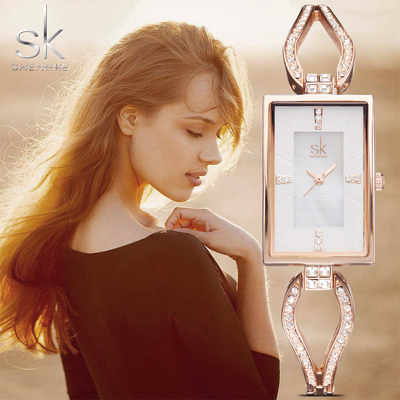 SK New Women's Fashion Diamond Armbandsur Top Luxury Brand Square - Damklockor - Foto 4