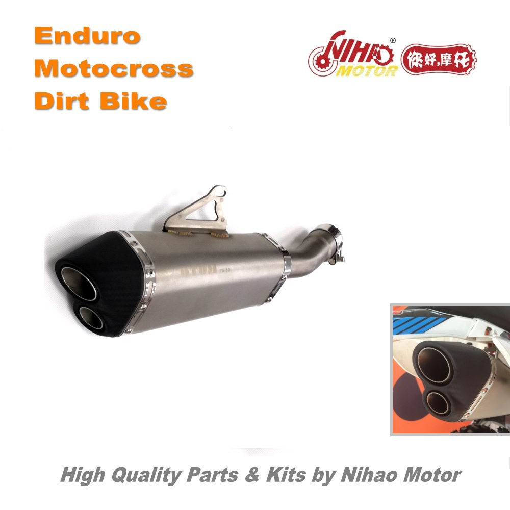 цена на 73 Motocross Parts Performance muffler KAYO T2 T4 T6 Twin exhaust mouth double Enduro Kit Dirt bike spare cross for Kawasaki for
