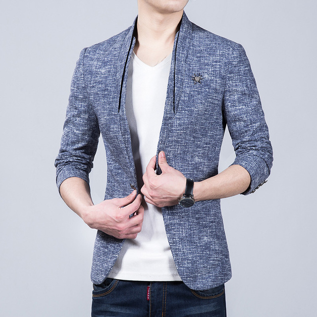 89f4cae765d65 2016 Cotton Linen Blazer New Designer Stand Collar Classic Blazer For Male  Plus size 3Xl Casual