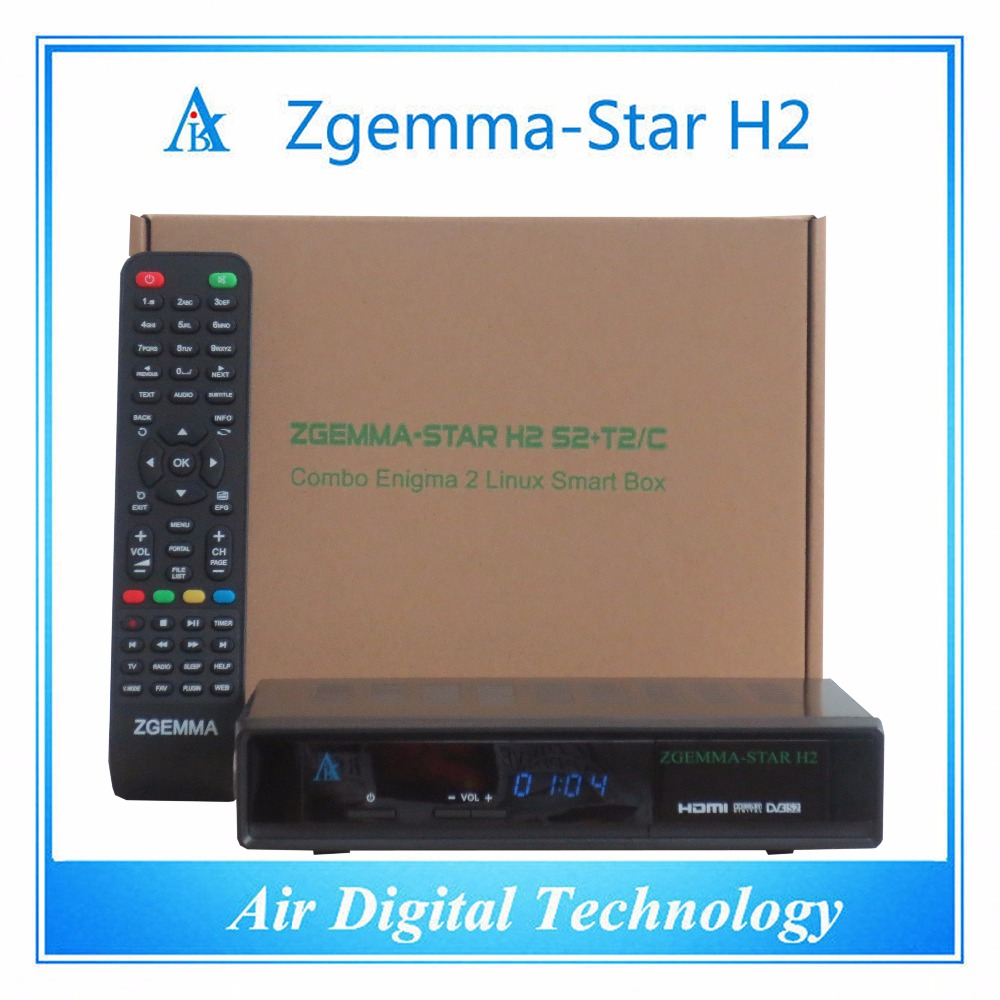 2 pcs/lot full HD dvb s2 dvb t2/c support IPTV satellite receiver  Zgemma star H2 телеприставка qhisp iptv dvb t2 mpeg4 hd 40 car dvb t2