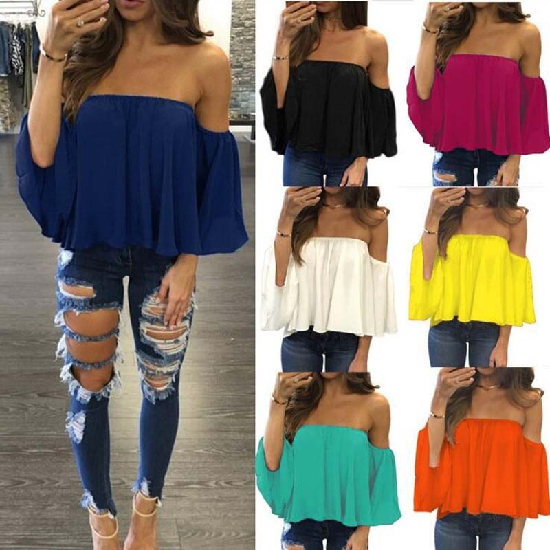 Women Off Shoulder Blouse New Sexy Chiffon Tops Shirt Loose Party Women Blouse Elegant Summer Fashion Bare Shoulders Clothes