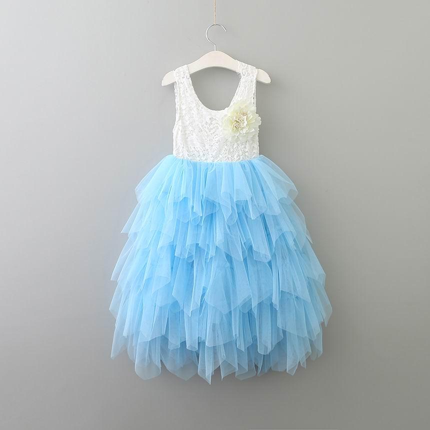Sommer Mädchen Prinzessin Kleider Blume Tiered Tüll Ärmelloses Mädchen Maxi Kleider Für Hochzeit Party Strand Kleid 1-8Y E15163