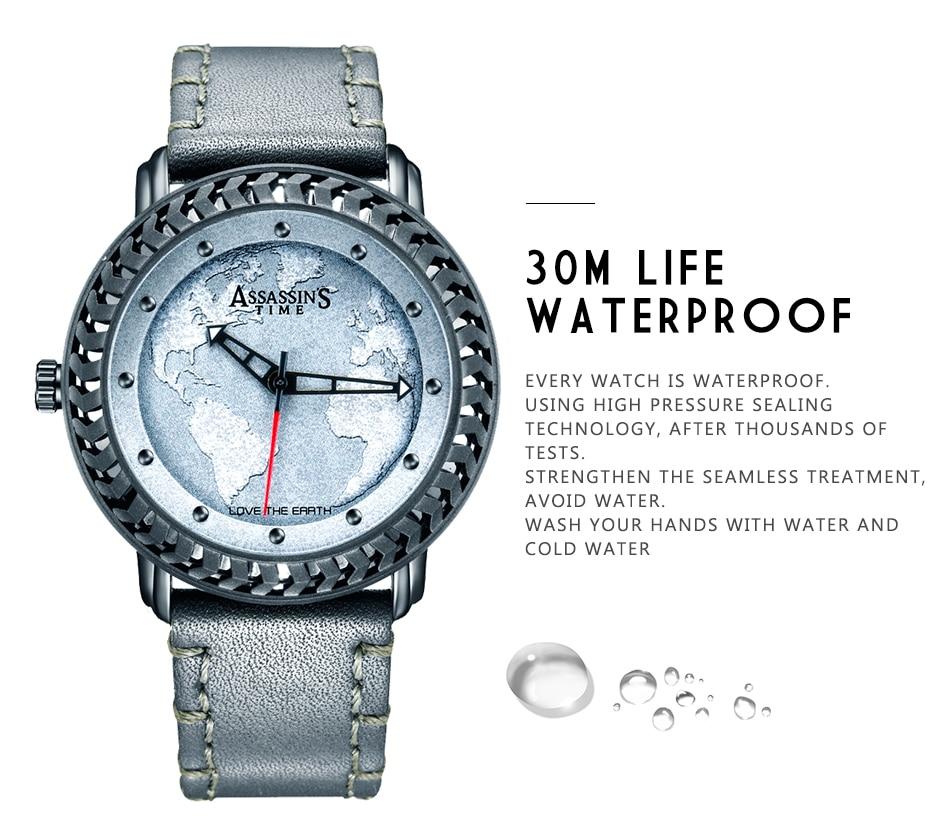 Assassin's Time Fashion Style Fashion Men Mapa Cuarzo Reloj Deportivo - Relojes para hombres - foto 4