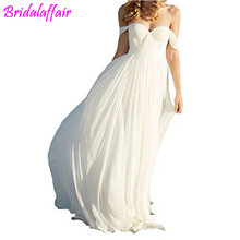 Elegant a Line Empire Long Chiffon Bridal Beach Wedding  plus size wedding dress 2018 bridal dresses off shoulder
