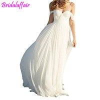 Elegant a Line Empire Long Chiffon Bridal Beach Wedding plus size wedding dress 2018 bridal dresses wedding dress off shoulder