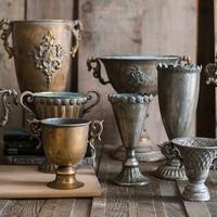 Classical Goblet Flower Retro Vase Nostalgic Wrought Iron Gold Silver Flower Pot For Homes Metal Vases Wedding Tabletop Vase