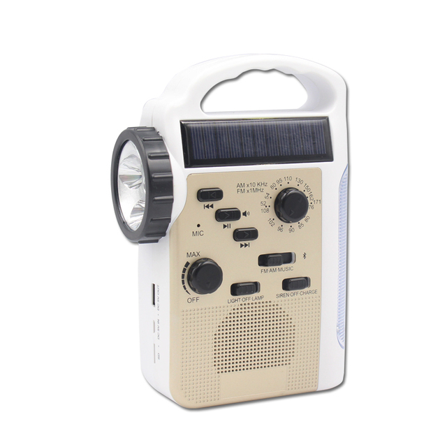 New Arrival Portable Hand Crank USB Charger AM/FM Solar Radio Bluetooth Speaker Crank Generator Phone Charger LED Torch/Light