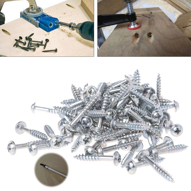 100Pcs M4-25 High Strength Oblique Hole Self-tapping Screws For Pocket Hole Jig