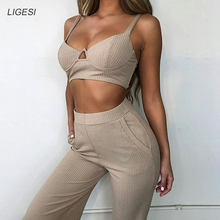 Ribbed Strapless Summer Crop Top and Pants Set Sleeveless Pockets Sexy Two Piece Set Women Solid Casual Women Tracksuits 2019 sleeveless knotted top and pockets shorts set