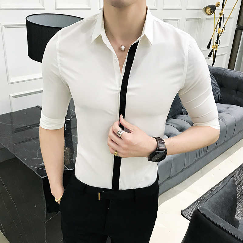 White Shirt Men Simple Solid Business Casual Dress Shirts Mens Slim Fit Half Sleeve Night Club Party Tuxedo Shirt Men's Clothing