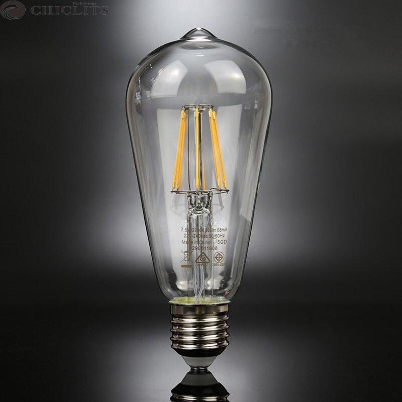 E27 Ampoule Led Bulb 220V 2W 4W 6W 8W Vintage Edison Filament Led Lamp Lighting Bulbs ST64 Energy Saving Lamp for Home Lighting 1x new design led filament e14 bulb dmimable 2w 4w 6w ac 220v 230v lamp edison glass candle lights lighting for chandelier