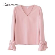 Dabuwawa Rosa Frühling Flare Langarm-bluse Sexy V-ausschnitt Shirt Pullover  Bogen Shirt Damen Elegante Arbeit Zu Tragen Tops 4dc9027060