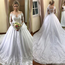 SexeMara White Long Sleeve Wedding Dresses Lace Appliqued