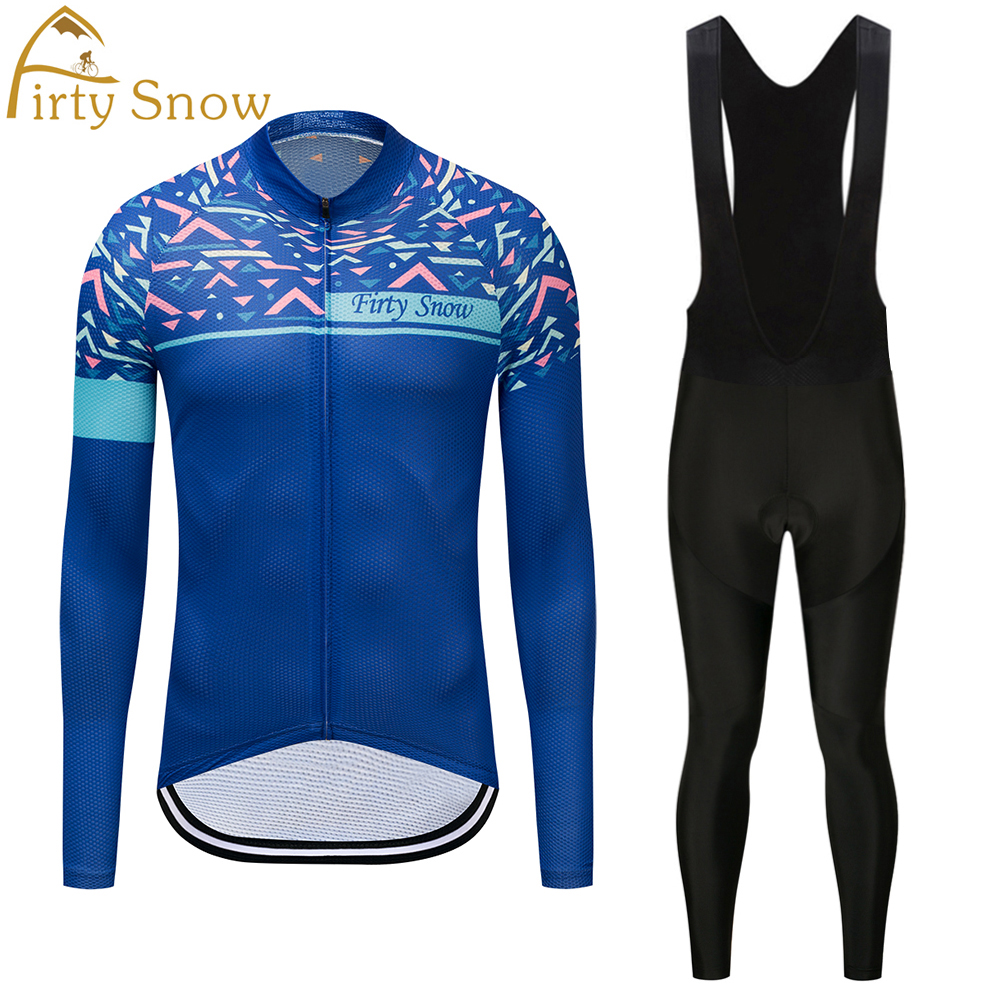 Firty sonw2018 Team Long Sleeve Cycling Wear Spring/Autumn Quick Dry Ropa Cycling Jersey Bike Riding Clothing Set with 9D Gel Pa