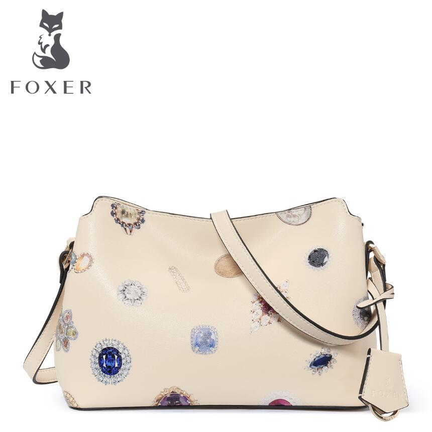 ФОТО FOXER 2016 new quality women genuine leather bag famous brands leather women bag fashion printing women leather shoulder  bag