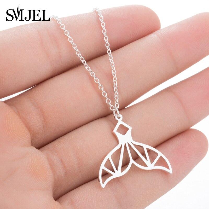 SMJEL géométrique fée queue de baleine pendentifs et colliers tour de cou femmes à la mode sirène queue bijoux accessoires Collier amitié