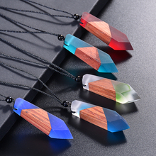 Handmade Resin & Wood Creative Necklaces For Women/Men Long Rope Wooden Pendants Sweater Chain Colored Resin Necklace Jewelry olsen twins dropshipping long acrylic resin oval link chain necklaces for women winter sweater jewelry