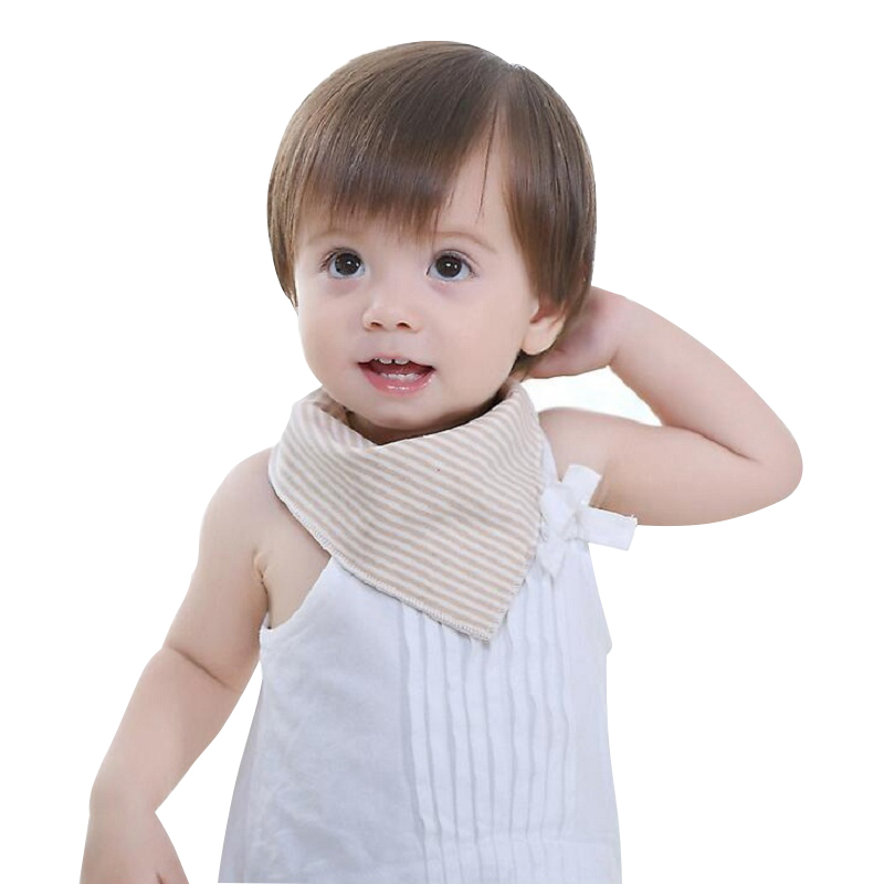 4Pcs Baby Bibs Cute Cotton Striped+Solid Triangle Feeding Bib Baby Scarf Covered Buttons Bibs Slabber Absorbent Cloth Baberos
