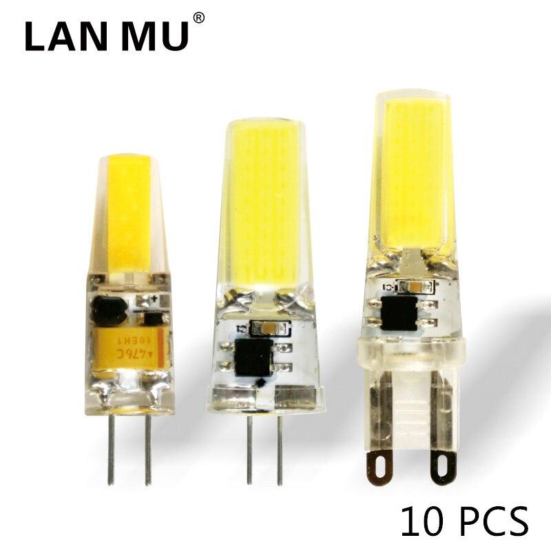 10 шт./лот светодиодный G4 <font><b>G9</b></font> лампа AC/DC 12 В 220 В 1 Вт 2 Вт 3 Вт <font><b>COB</b></font> SMD светодиодный освещение заменить галогенные фары люстры