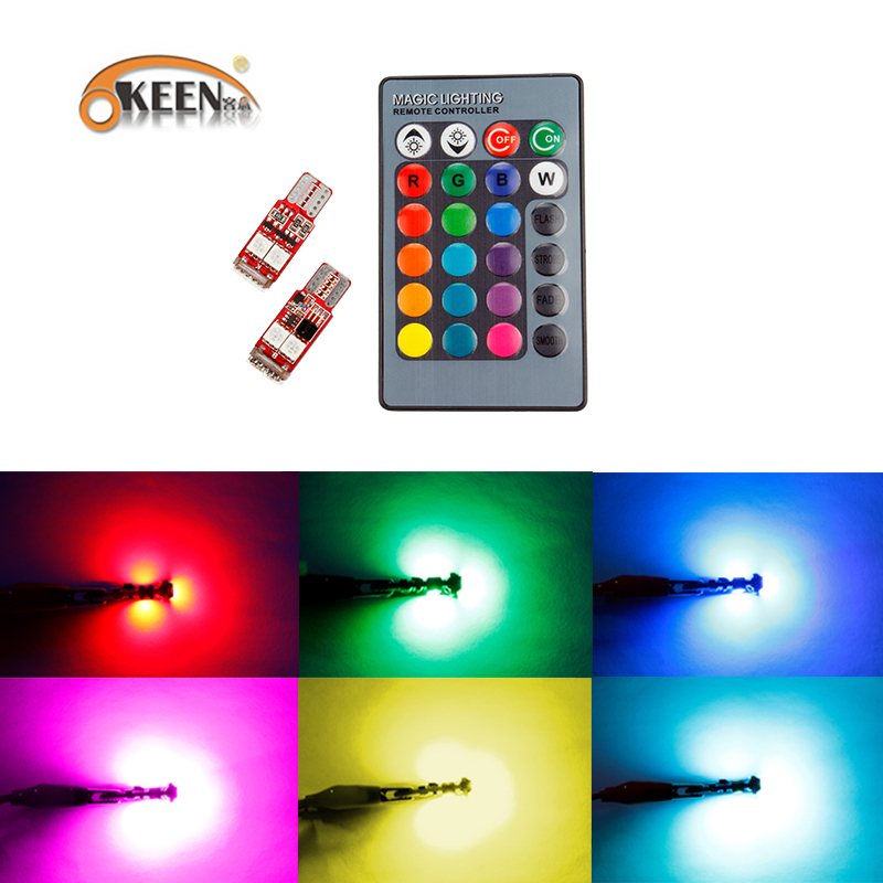 OKEEN 2pcs Canbus RGB T10 6smd 5050 Led Car Light W5w 194 Error Bulbs Wedge Lamp Clearance Light /led headlight remote control deechooll 2pcs wedge light for mazda 2 3 5 6 mx5 rx8 cx7 626 gf gg ge gw canbus t10 57smd 6w led clearance xenon lighting bulbs
