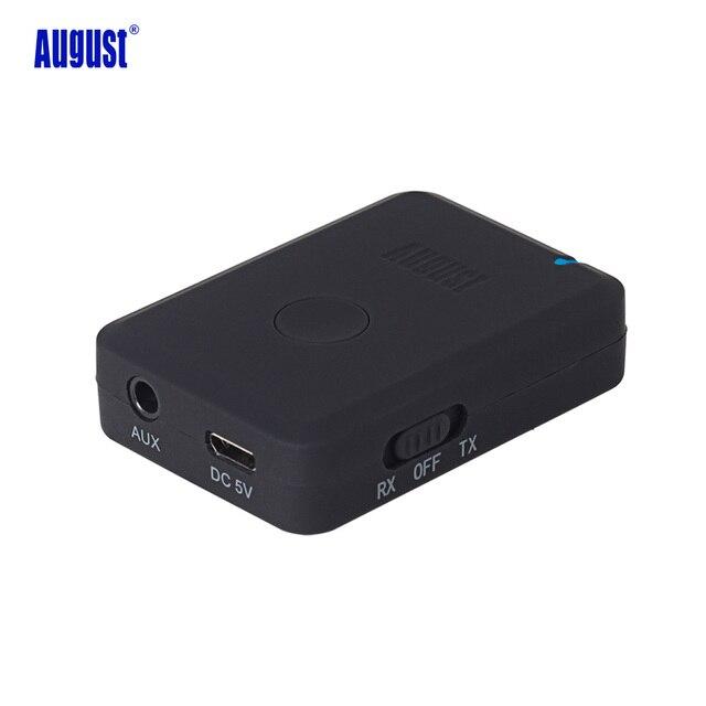 August mr260 transmisor receptor bluetooth aptx 2-en-1 de doble modo de emisor y receptor de audio estéreo bluetooth activar el dispositivo de audio