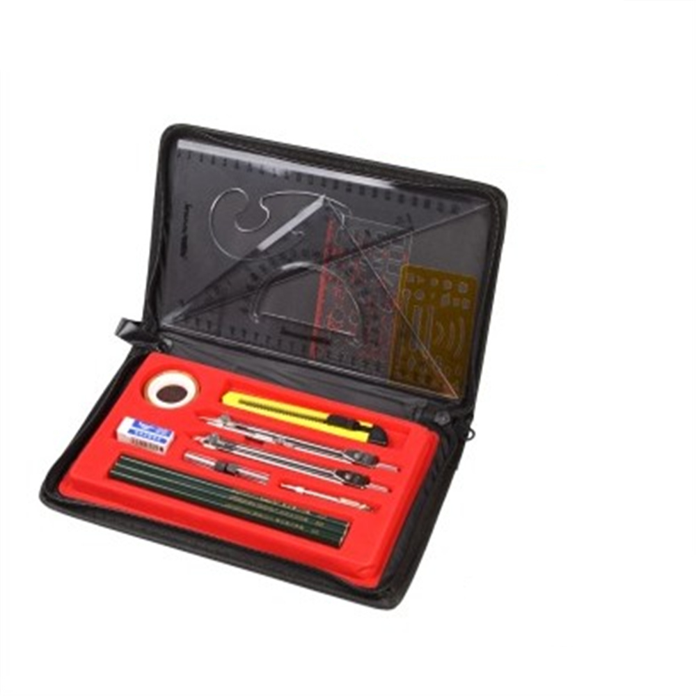 Art Math Set Ruler Pencil Stainless Steel Compass Student Drawings School Supplies with Cloth Bags 300mm multifunctional combination square ruler stainless steel horizontal removable square ruler angle square tools metal ruler