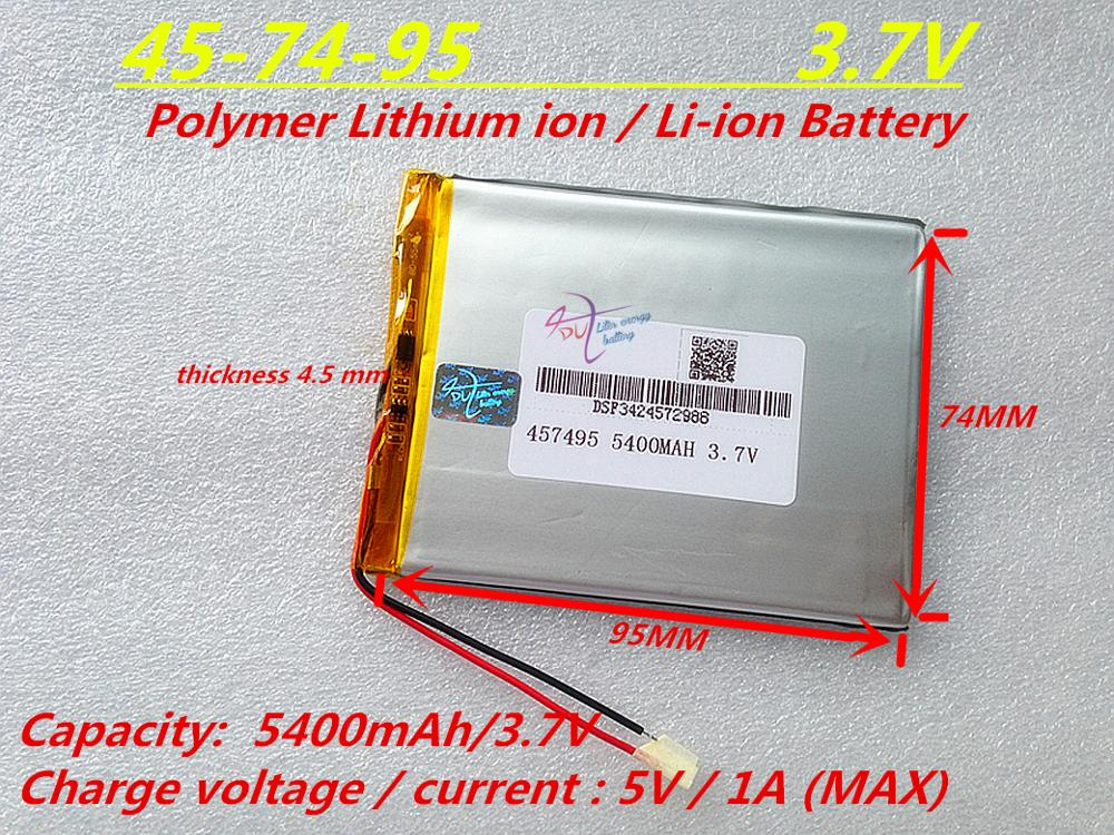 Tablet pc 3.7V,5400mAH (polymer lithium ion battery) Li-ion battery for tablet pc 7 inch 8 inch 9inch [457495] shun core 2800mah 654476 3 7v lithium polymer battery 654575 tablet pc navigation