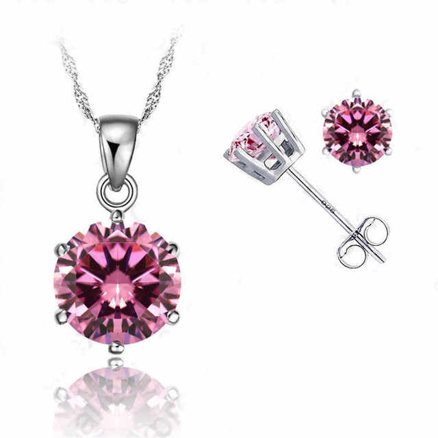 "Classic 8 Colors Cubic Zirconia Genuine 925 Sterling Silver Jewelry Sets  6 Claws Stud Earring Pendant Necklace 18""  Chain"