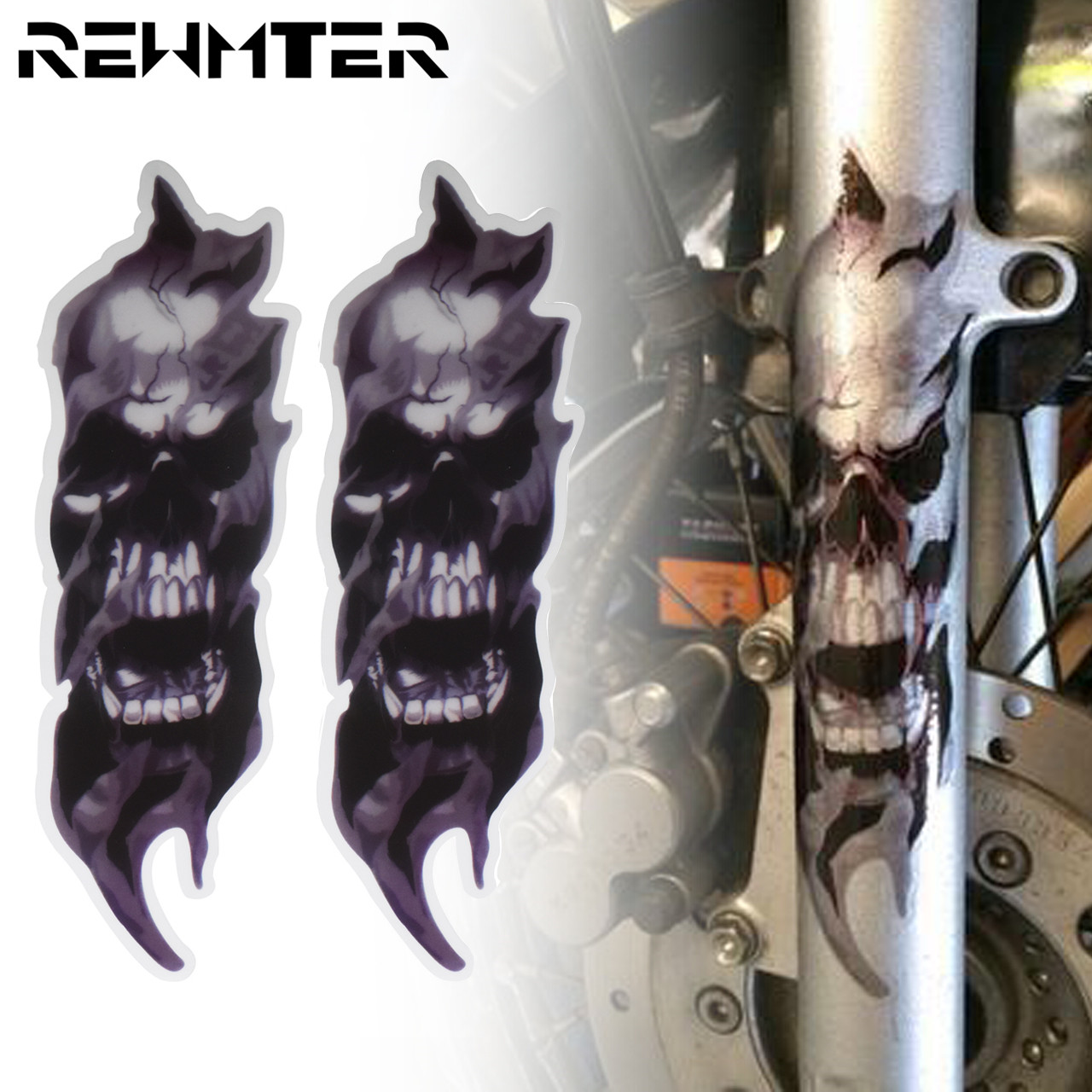 2PCS Motorcycle Front Fork Skull Zombie Decals Graphic Stickers For Harley For Honda For Yamaha For Kawasaki For Suzuki