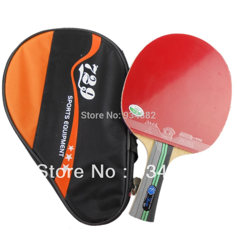 <font><b>729</b></font> 3Star (3 Star, 3-Star) Pips-In Table Tennis (Ping Pong) Racket + a Paddle Bag Shakehand long handle FL image