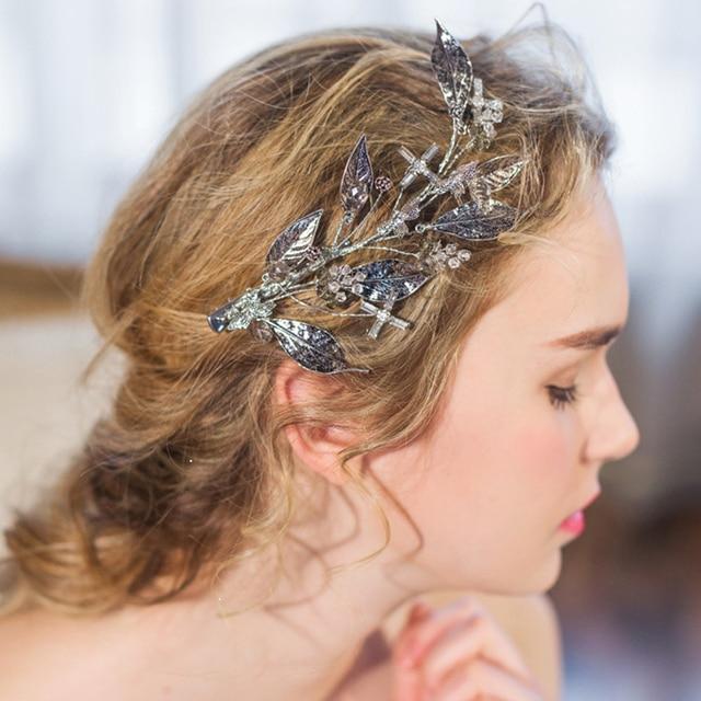 Floristic Crystal Handmade Tiaras Gold Leaves Hair Jewelry Retro Bridal Accessories Best Head Piece